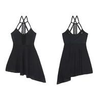 MIEREEN 女子裙式连体泳衣 M18228 黑色 L