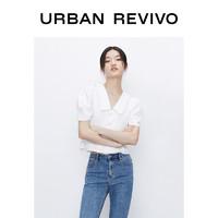 UR2020夏季新品女装优雅休闲短款方领衬衫WG20SBWN2000