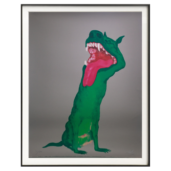 艺术品 周春芽限量丝网版画《绿狗》80*100cm(外框尺寸)
