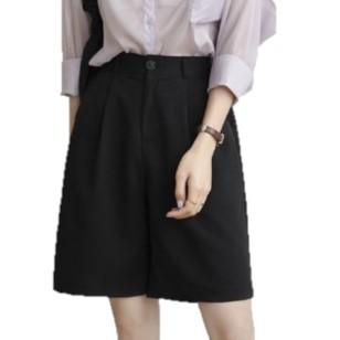 Herscity 女士高腰直筒五分西裤02HXK11 黑色L