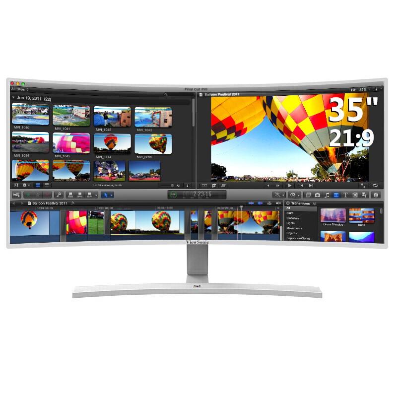 ViewSonic 优派 VX3515-SCHD 35英寸 VA曲面显示器(2560×1080、R2500、DC调光)