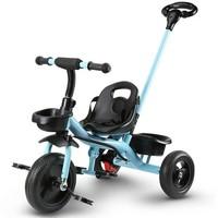 活石儿童三轮车脚踏手推车宝宝滑行车免充气1-6岁过新年礼物 快速安装-骑士蓝 *2件