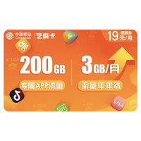 中国移动 移动芝麻卡 移动流量卡 19元/月 3GB通用+200GB定向流量