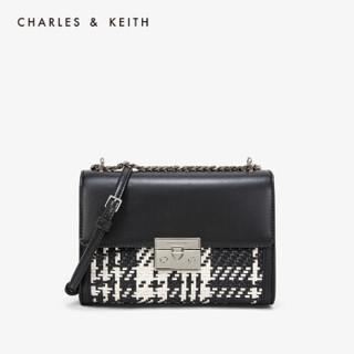 京东PLUS会员 : CHARLES&KEITH单肩包编织饰女士链条翻盖CK2-70780956-2 Black黑色 S