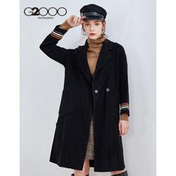 G2000商场同款女装毛呢外套 冬季新款气质条纹衣袖羊毛大衣女88221329 黑色/99 165/84A/M *3件
