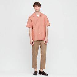 UNIQLO 优衣库 425103 男士麻棉开领短袖衬衫