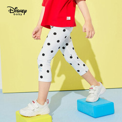 迪士尼 Disney 童装女童宝宝针织七分裤打底裤时尚儿童衣服2020夏 DB021ZE04 黑白波点 110 *6件