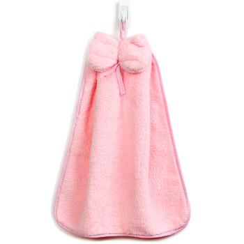 三利 珊瑚绒蝴蝶结挂式擦手巾 加厚不掉毛强吸水 浴室厨房居家多用途抹手毛巾 30×44cm 桃粉色 *2件
