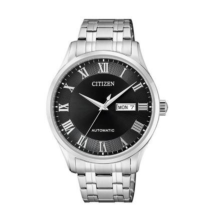 CITIZEN 西铁城 机械腕表系列 NH8360-80EB 男士机械手表 41.4mm 黑盘 银色不锈钢带 圆形