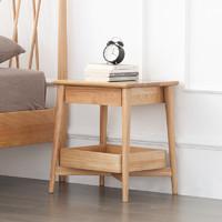 原始原素全实木床头柜单抽边柜简约现代卧室橡木储物收纳柜B3024