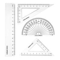 M&G 晨光 ARL96135 胡子先生系列 绘图套尺4件套(15cm直尺+三角尺*2+量角器)