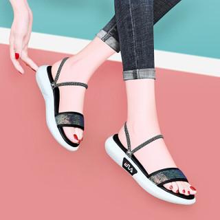 莱卡金顿 LAIKAJINDUN 一字型厚底凉拖套脚时尚百搭防水台女鞋 6758 黑色 40