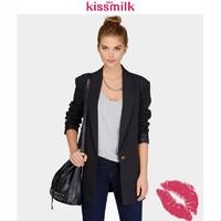 KISSMILK通勤OL西装领一粒扣开衫外套 纯色易搭配长袖修身西服女