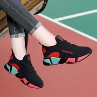 莱卡金顿 LAIKAJINDUN 女士韩版时尚百搭系带拼色运动跑步休闲鞋 6571 黑色 37