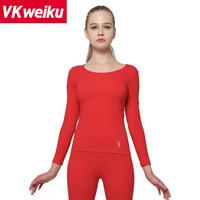 VKweiku保暖内衣男女秋衣秋裤 自发热 中老年情侣款保暖套装加厚保暖裤男 女款红色 XL
