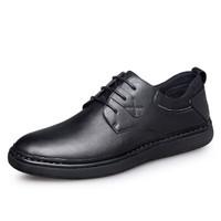 零度(ZERO)男士柔软舒适英伦潮流头层牛皮日常休闲鞋子 R83701 系带黑色 39