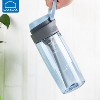乐扣乐扣 一键式吸管水杯 便携防漏运动水壶 带刻度学生塑料水杯子ABF764BLU蓝色550ml