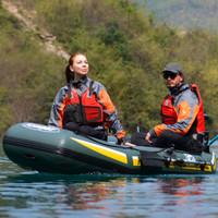 吉龍 釣魚船 充氣船橡皮艇皮劃艇加厚  適用于1-3人 (送船槳*2+魚竿架*2+坐墊*2+船繩+手拉泵)240*128*43CM