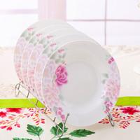 SKYTOP斯凯绨 陶瓷盘子骨瓷餐具菜盘8英寸汤盘4只套装满庭芳