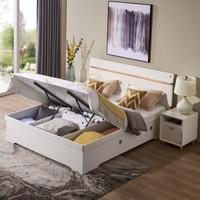 掌上明珠家居 北欧烤漆卧室 1.8米高箱储物床+床头柜×1 组合家具套装 ESA117-A152J