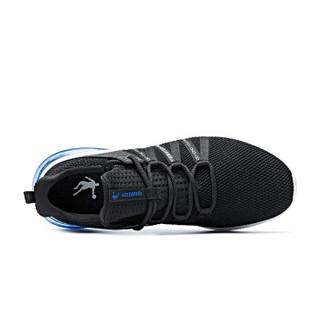 乔丹 男鞋轻便休闲鞋气垫减震跑步鞋 XM2590205 黑色/活力蓝 39