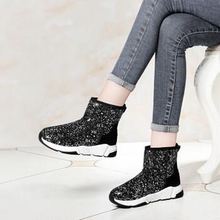 莱卡金顿 LAIKAJINDUN 韩版圆头平底雪地女鞋百搭磨砂加绒短靴 6605 黑色 38