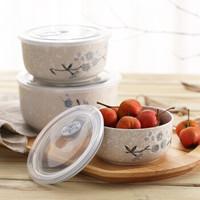 樱之歌 纯手绘雪花釉日式素瓷大容量保鲜碗3件套