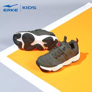 鸿星尔克(ERKE)童鞋男童大童秋冬儿童慢跑鞋 63119320082 暗绿/正黑 39码