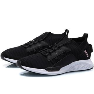 李宁 LI-NING 2019新品女子一体织减震回弹潮流休闲鞋AGLP072-4 标准黑/标准白 38