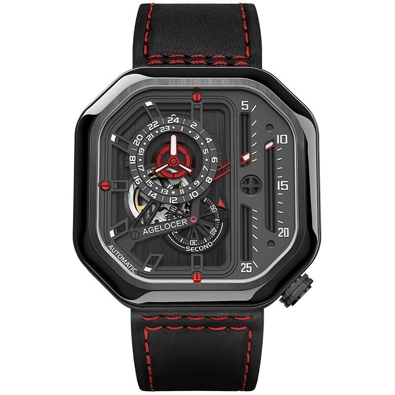 艾戈勒(agelocer)瑞士手表 新款时尚全自动镂空机械表 防水轻奢男士腕表 红间黑皮 5804J4 44MM【热卖爆款】