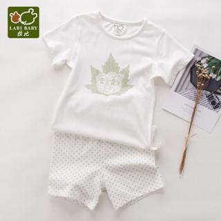拉比童装婴儿衣服纯棉儿童内衣短袖宝宝睡衣夏薄空调服套装自营 圆领100码