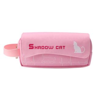 绍泽文化 学生多层大容量铅笔袋 收纳袋 文具盒 影子猫 粉色