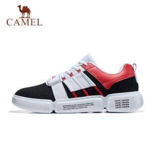 骆驼(CAMEL) 休闲鞋男女情侣时尚鞋拼接运动鞋青少年潮流鞋子 A912608085 男款黑/白/红 43
