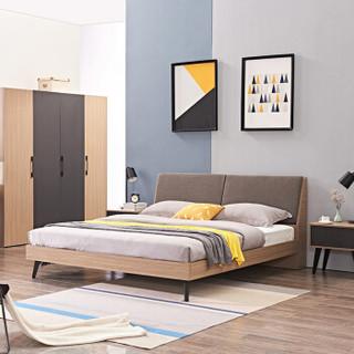 佳佰 床 北欧卧室家具软靠大床 欧式现代简约框架双人床 1.8米床+床垫*1+床头柜*1 BY1002-180