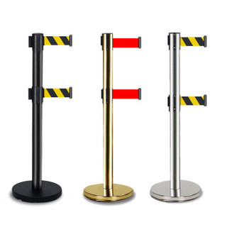 者也隔离护栏隔离带栏杆加厚警戒线隔离带伸缩带排队道路安全线围栏不锈钢安全隔离护柱 2米双层哑光黑