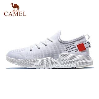 骆驼(CAMEL) 休闲鞋情侣潮鞋轻便跑步鞋时尚潮流鞋运动鞋 A912318155 男款白/红 45