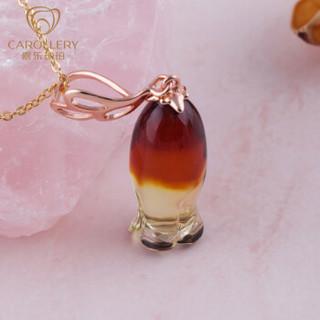嘉乐 琥珀吊坠女款银镀玫瑰金琥珀项链锁骨链风铃『极简·欧式』