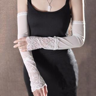 优唯美 防晒手套 女冰丝防晒冰袖女款蕾丝护臂袖套开车骑行户外运动防晒套袖FS-80 运动黑