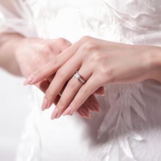 鑫万福 白18K金钻戒钻石结婚求婚戒指经典六爪女戒
