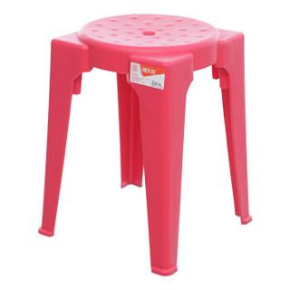 禧天龙 Citylong 加厚防滑塑料凳 家具凳子 家用浴室高凳 客厅换鞋凳 板凳 桃红 1个装2033