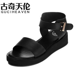 古奇天伦 GUCIHEAVEN 时尚金属一字扣带露趾防水台女凉鞋 8213 黑色(跟高3.5CM) 42