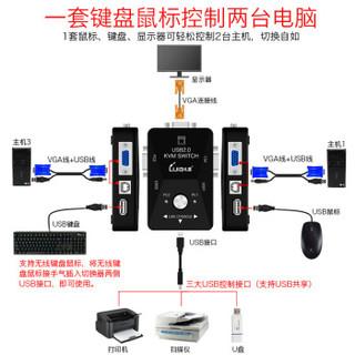 礼嘉 LJ-21UA 二进一出KVM切换器 2口手动USB打印机共享器 多电脑VGA显示器共享器切屏器 2进1出 (不配线)