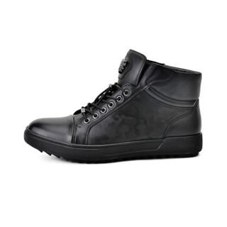 诺贝达 ROBERTA DI CAMERINO 男士休闲皮鞋头层牛皮中帮保暖男靴 黑色 41