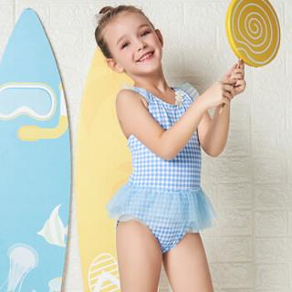弈姿女士泳衣 儿童泳衣女 女童宝宝可爱温泉裙式泳装 小中童荷叶边连体游泳衣 EZI18G040 蓝白格纹 100cm
