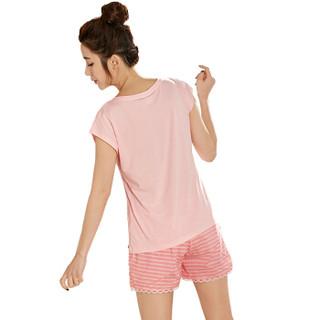 都市丽人睡衣女套装2019春夏新品棉质套头卡通可爱女士家居服 BH7212 粉色 M
