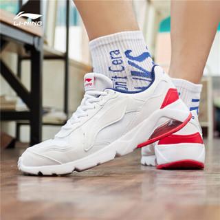 LI-NING 李宁 男款气垫运动鞋 AGCP093-1 标准白+深宝蓝+赤樱红 39