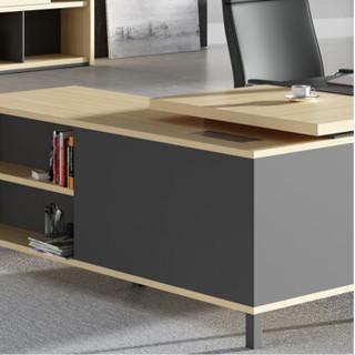 华旦 现代简约板式老板桌单人办公电脑桌大班台行政桌 FR2019 蜡木+铁灰