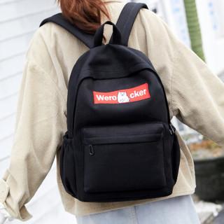 Landcase 书包女韩版原宿初中高中学生书包学院风大容量双肩包男休闲旅行背包 9067黑色