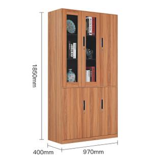 洛克菲勒钢制木纹带锁文件柜矮柜铁皮柜子办公资料柜胡桃木六门书柜右