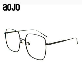 aojo 方形眼镜框 时尚细框近视眼镜 金属轻便男女款镜架 FASTY5518 C01 58mm